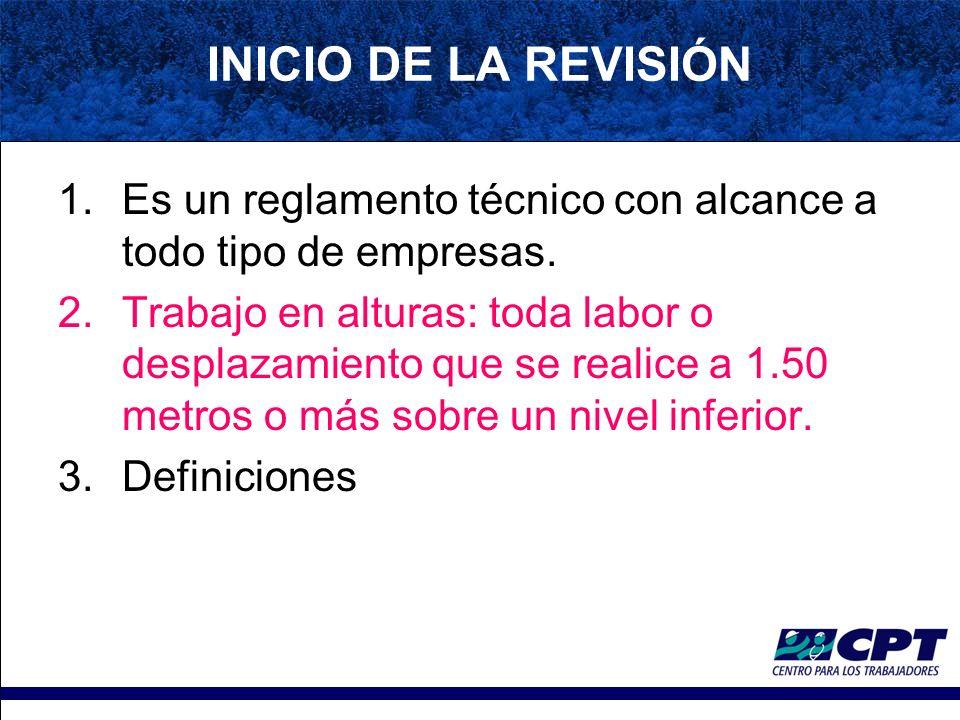 INICIO DE LA REVISIÓN Es un reglamento técnico con alcance a todo tipo de empresas.