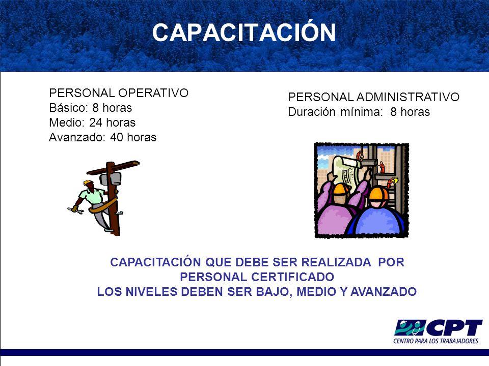 CAPACITACIÓN PERSONAL OPERATIVO PERSONAL ADMINISTRATIVO