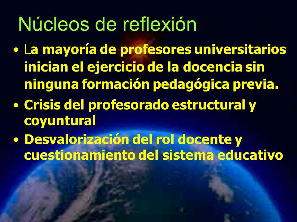 Núcleos de reflexión La mayoría de profesores universitarios inician el ejercicio de la docencia sin ninguna formación pedagógica previa.