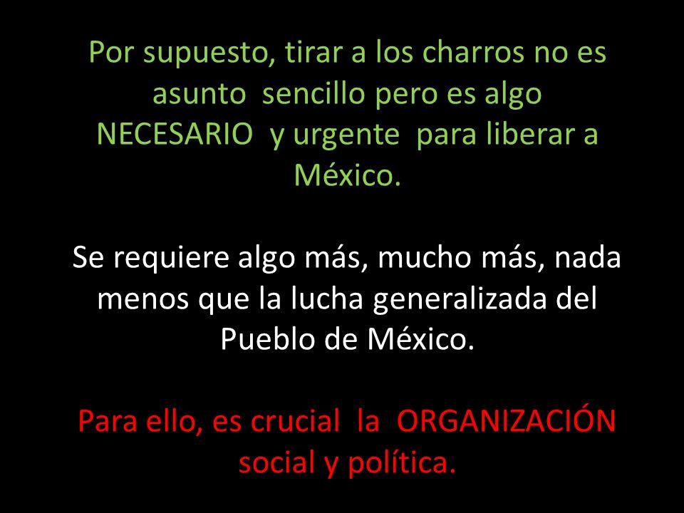 Para ello, es crucial la ORGANIZACIÓN social y política.