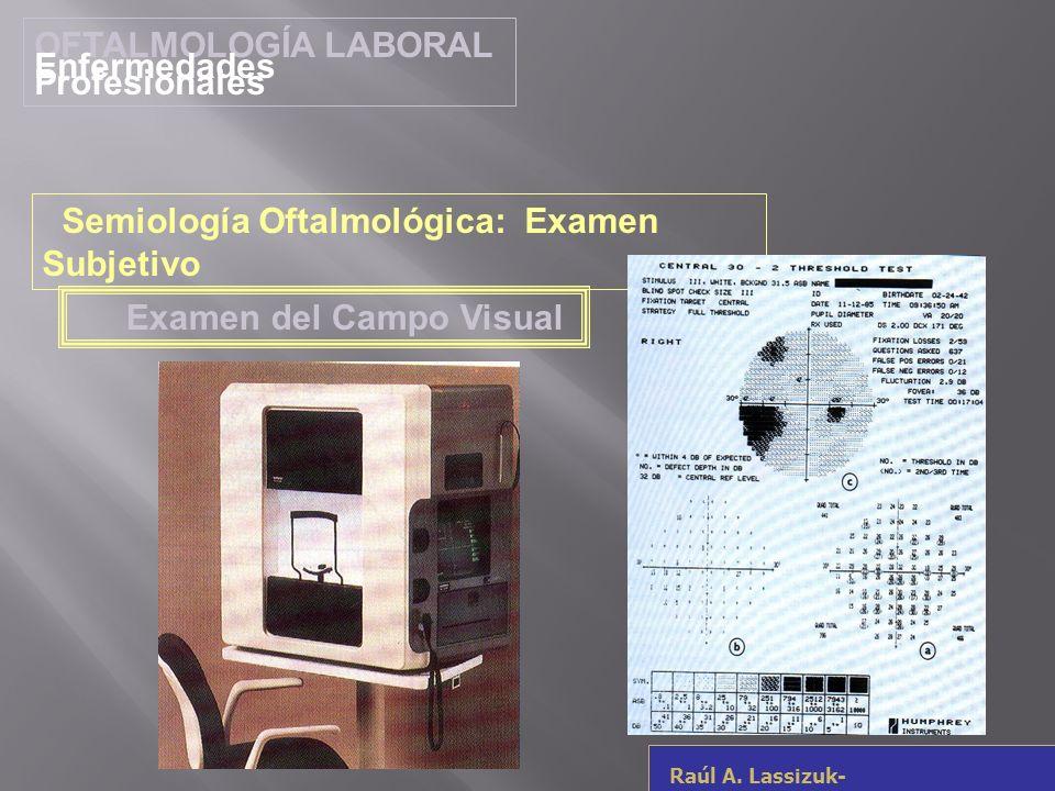 OFTALMOLOGÍA LABORAL Enfermedades Profesionales. Semiología Oftalmológica: Examen Subjetivo. Examen del Campo Visual.