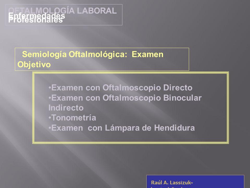OFTALMOLOGÍA LABORALEnfermedades Profesionales. Semiología Oftalmológica: Examen Objetivo. Examen con Oftalmoscopio Directo.