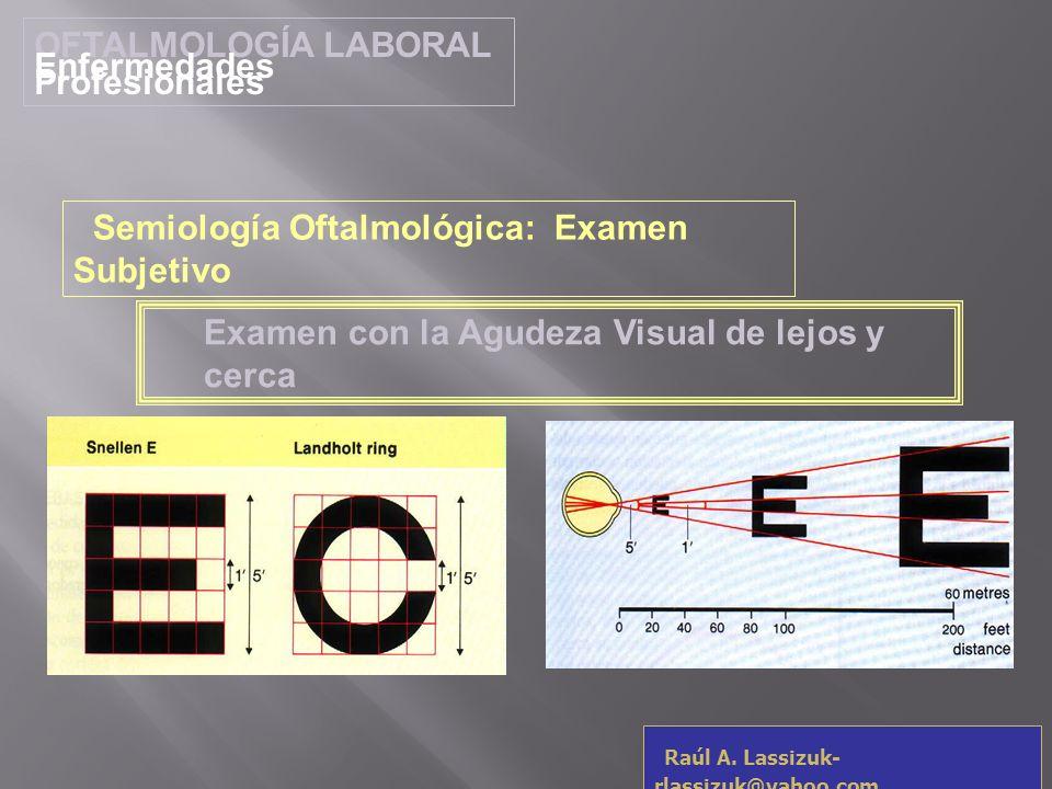OFTALMOLOGÍA LABORALEnfermedades Profesionales. Semiología Oftalmológica: Examen Subjetivo. Examen con la Agudeza Visual de lejos y cerca.