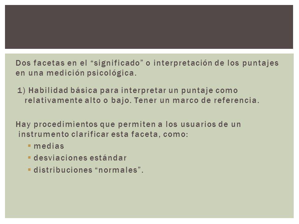 Dos facetas en el significado o interpretación de los puntajes en una medición psicológica.