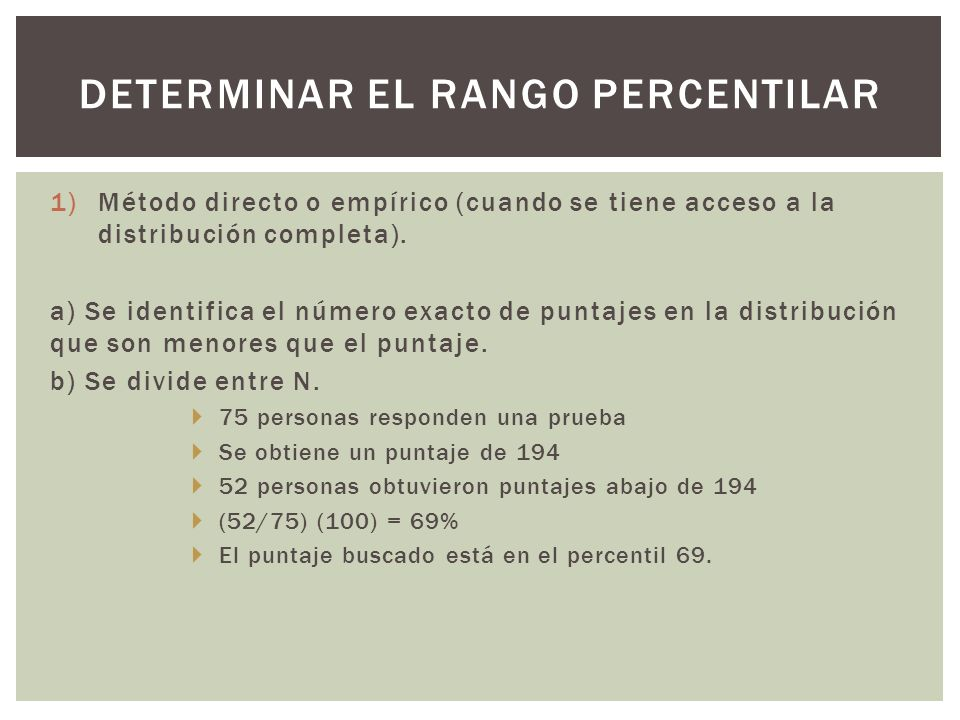 Determinar el rango percentilar