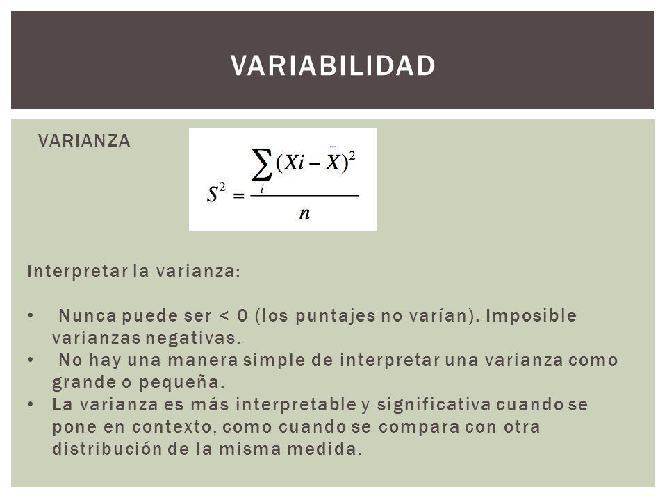 variabilidad VARIANZA Interpretar la varianza: