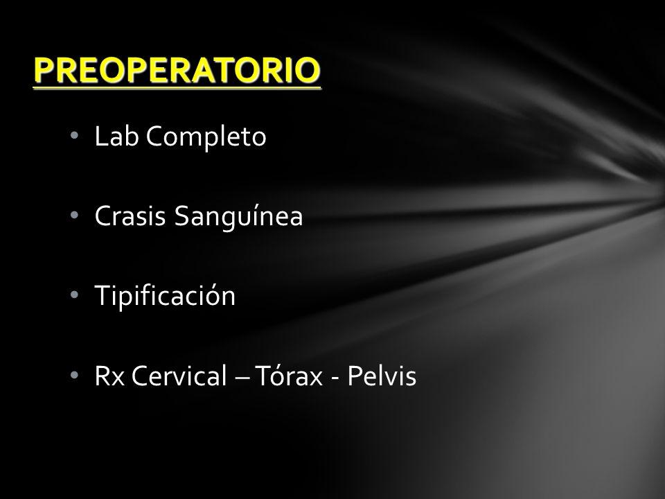 PREOPERATORIO Lab Completo Crasis Sanguínea Tipificación