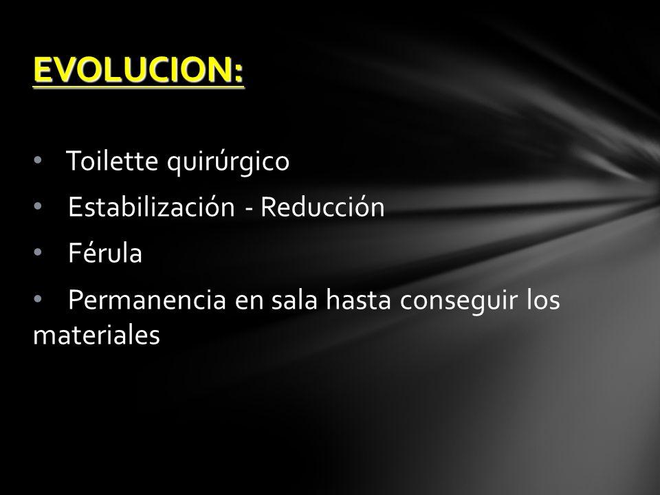 EVOLUCION: Toilette quirúrgico Estabilización - Reducción Férula