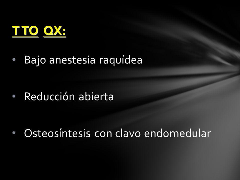 T TO QX: Bajo anestesia raquídea Reducción abierta
