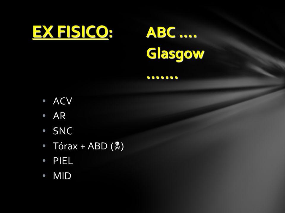 EX FISICO: ABC …. Glasgow ……. ACV AR SNC Tórax + ABD () PIEL MID