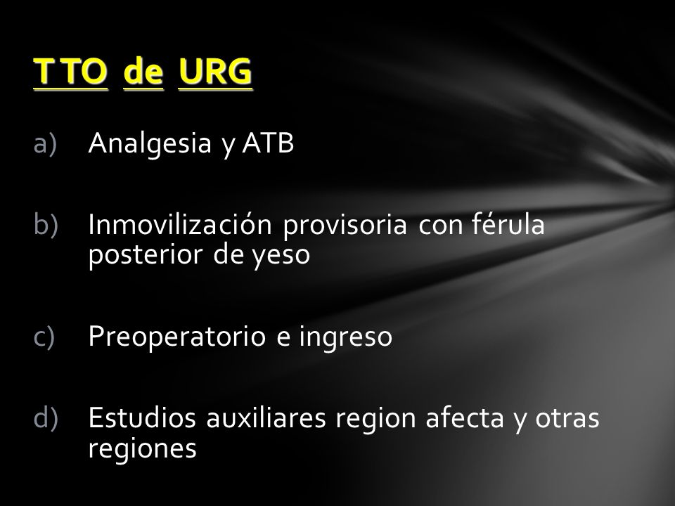T TO de URG Analgesia y ATB