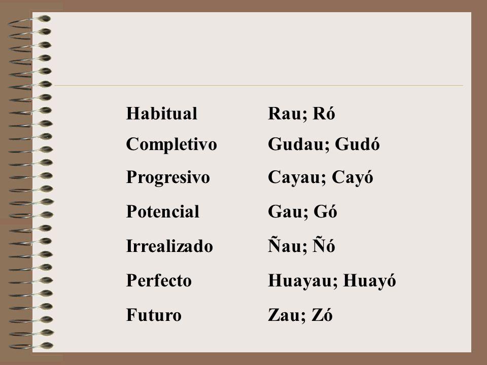 Habitual Rau; Ró. Completivo. Gudau; Gudó. Progresivo. Cayau; Cayó. Potencial. Gau; Gó. Irrealizado.