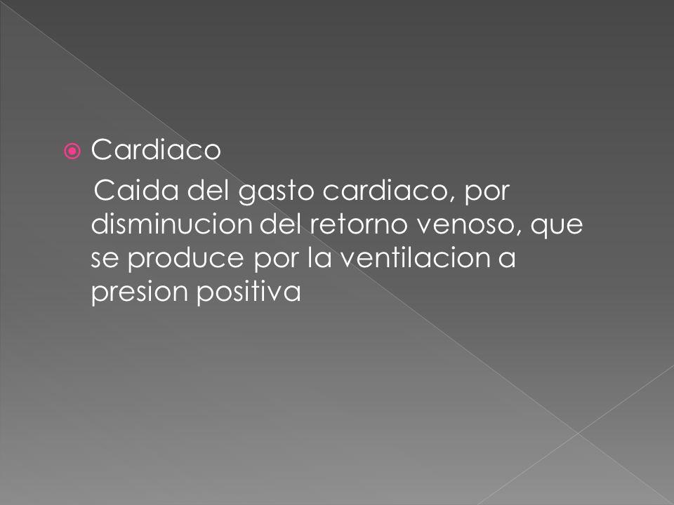 CardiacoCaida del gasto cardiaco, por disminucion del retorno venoso, que se produce por la ventilacion a presion positiva.