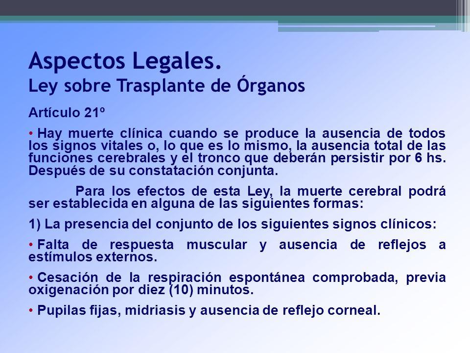 Aspectos Legales. Ley sobre Trasplante de Órganos