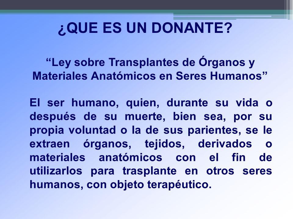 ¿QUE ES UN DONANTE Ley sobre Transplantes de Órganos y Materiales Anatómicos en Seres Humanos