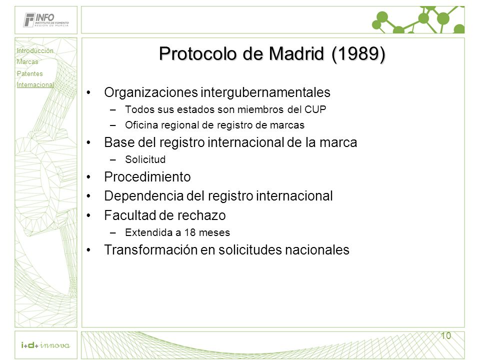 Protocolo de Madrid (1989) Organizaciones intergubernamentales