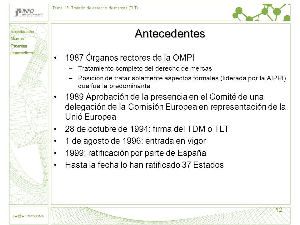 Antecedentes 1987 Órganos rectores de la OMPI