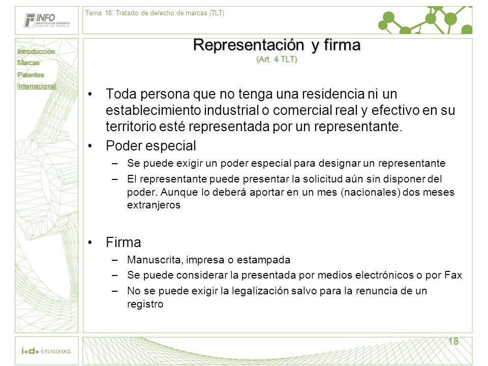 Representación y firma (Art. 4 TLT)