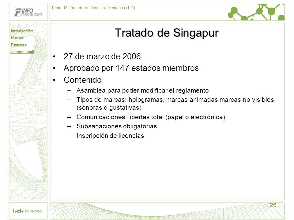 Tratado de Singapur 27 de marzo de 2006