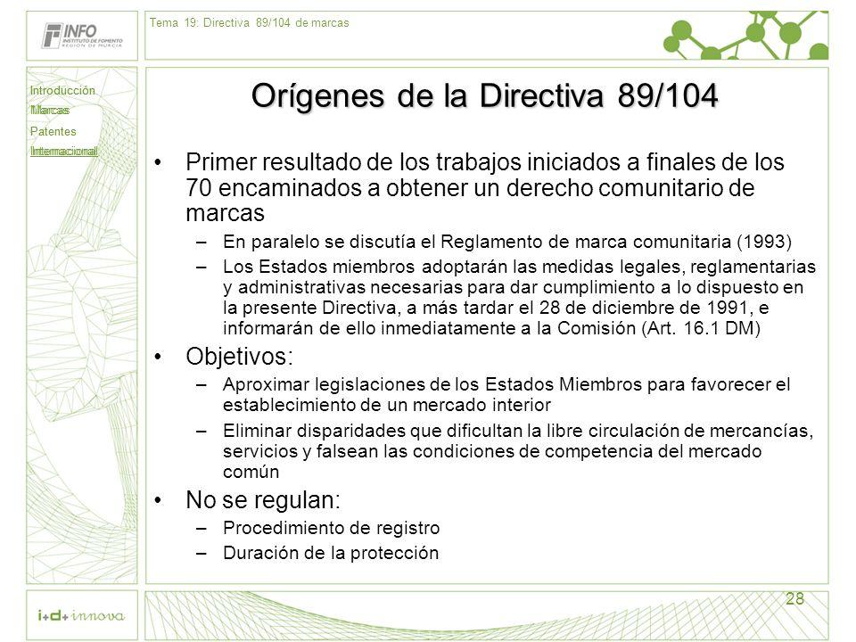 Orígenes de la Directiva 89/104