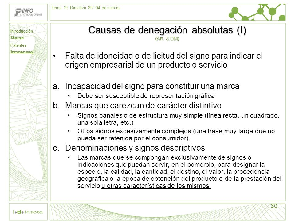 Causas de denegación absolutas (I) (Art. 3 DM)