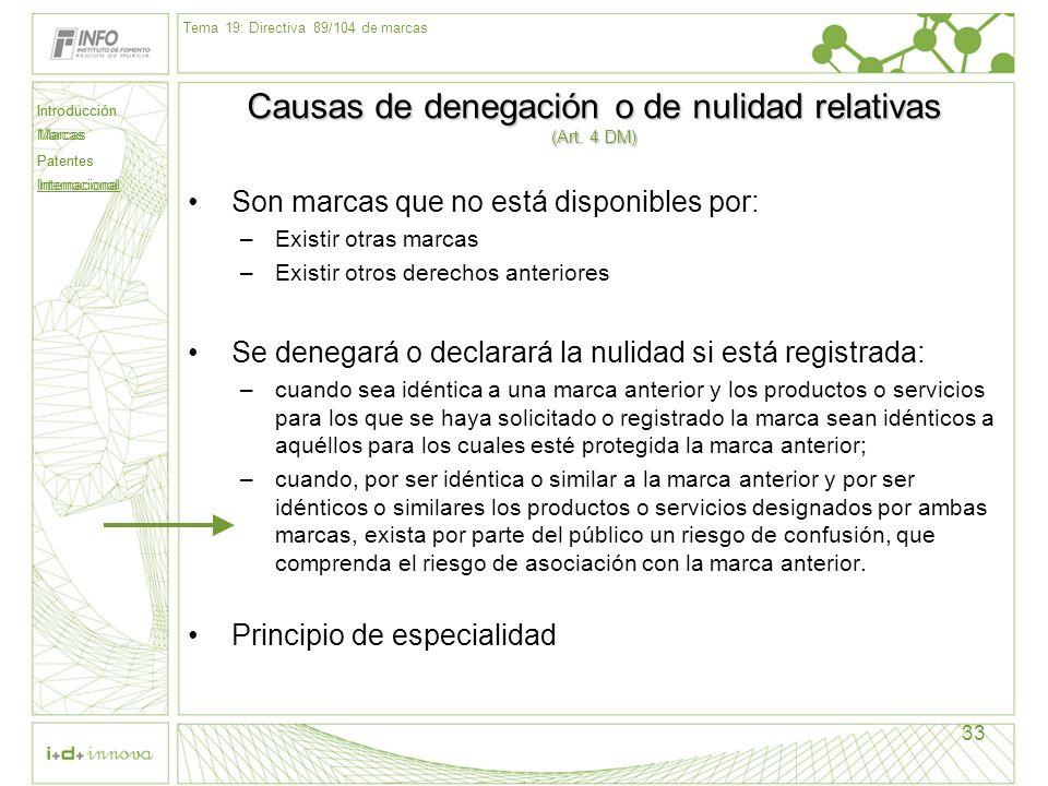Causas de denegación o de nulidad relativas (Art. 4 DM)