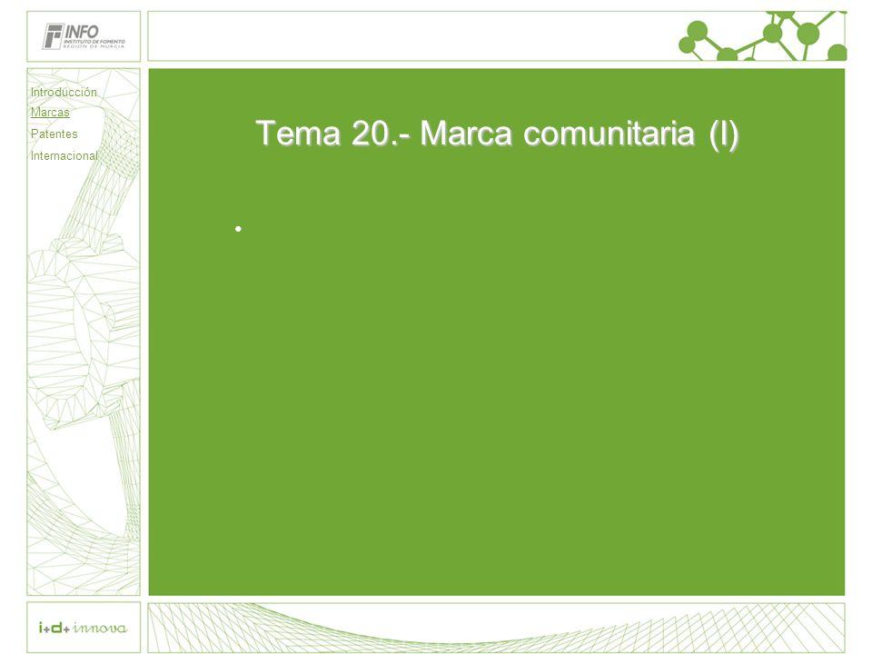 Tema 20.- Marca comunitaria (I)