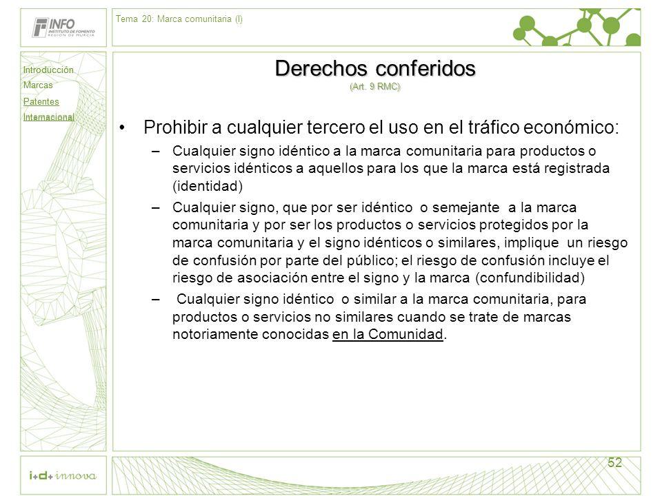 Derechos conferidos (Art. 9 RMC)