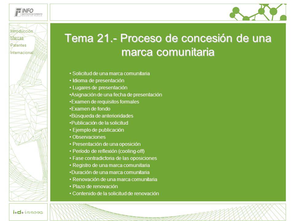 Tema 21.- Proceso de concesión de una marca comunitaria
