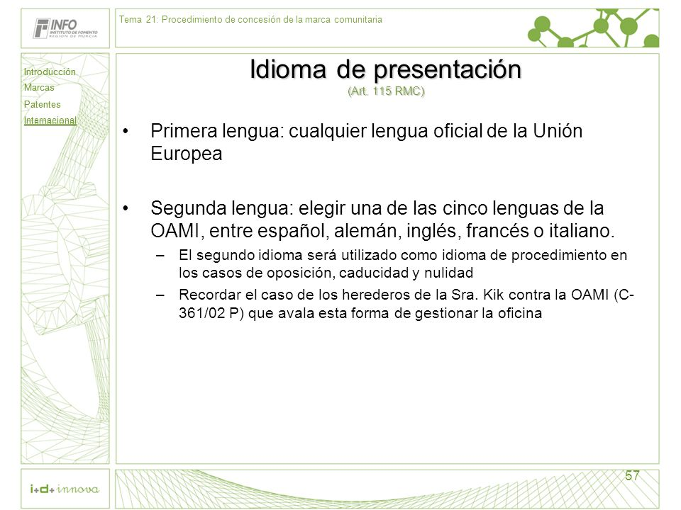 Cuarta parte internacional ppt descargar - Oficina europea de patentes y marcas alicante ...