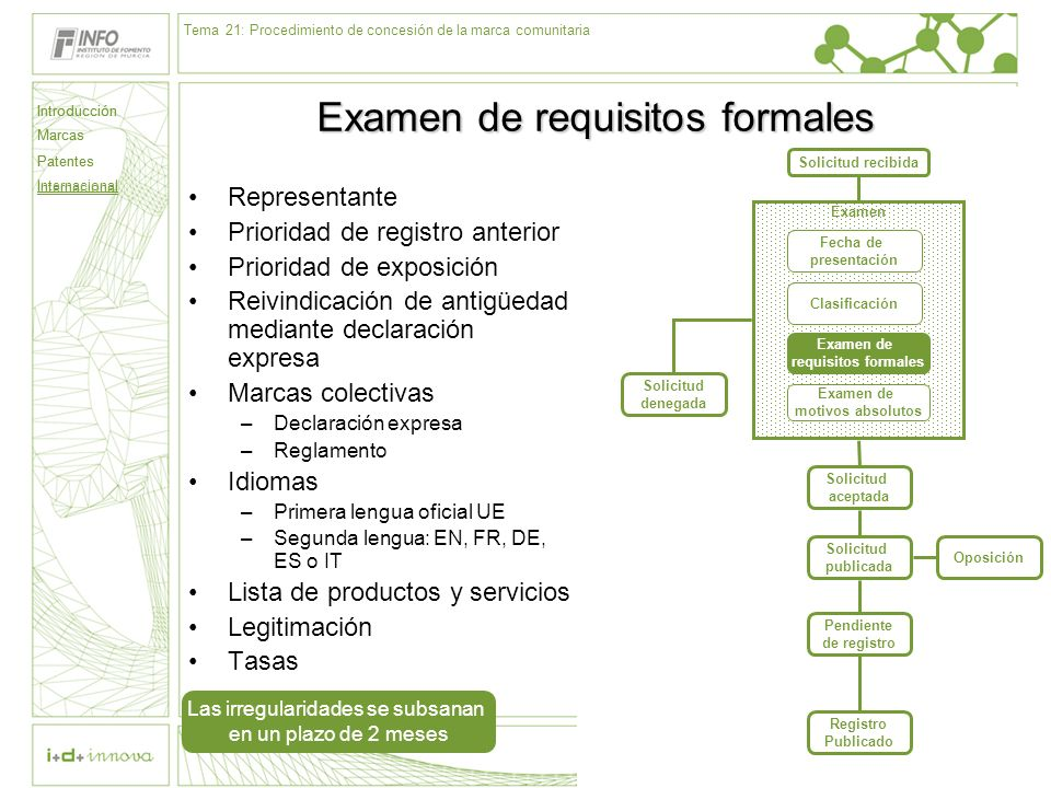 Examen de requisitos formales