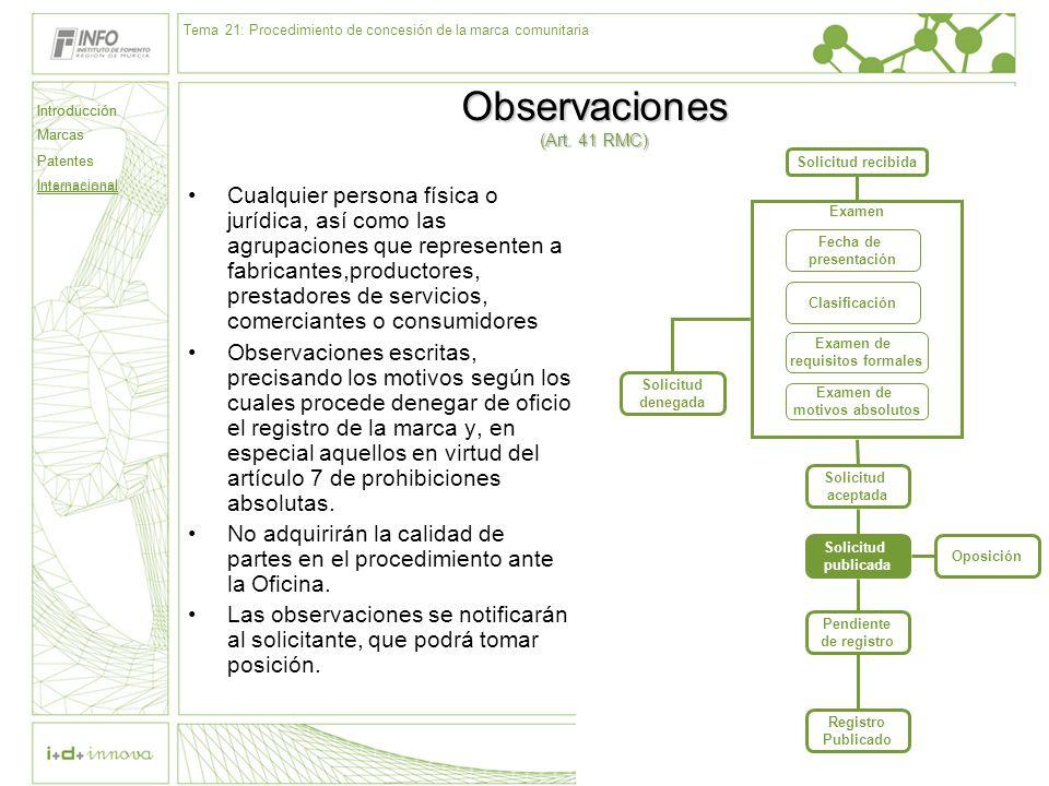 Observaciones (Art. 41 RMC)