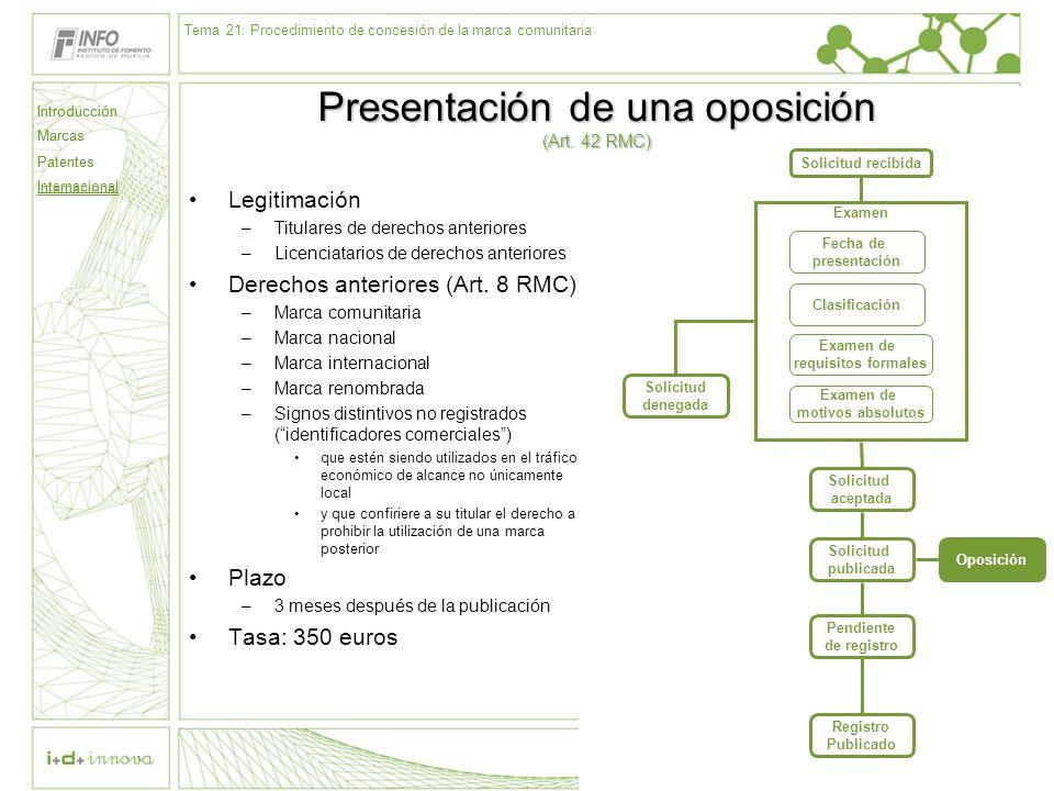 Presentación de una oposición (Art. 42 RMC)