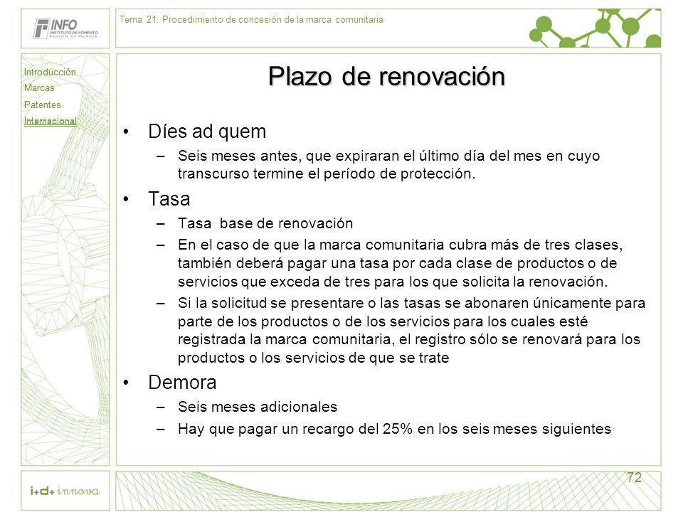 Plazo de renovación Díes ad quem Tasa Demora