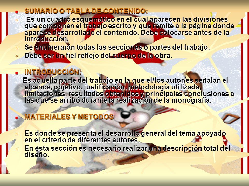 SUMARIO O TABLA DE CONTENIDO: