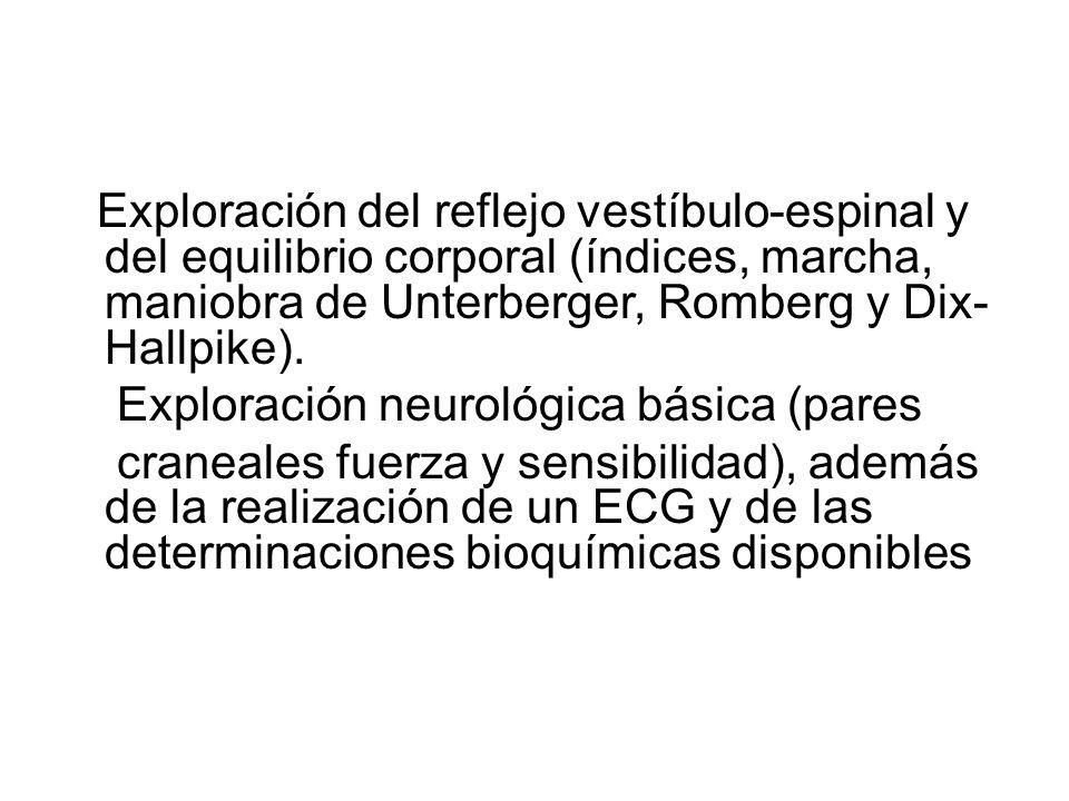Exploración del reflejo vestíbulo-espinal y del equilibrio corporal (índices, marcha, maniobra de Unterberger, Romberg y Dix- Hallpike).