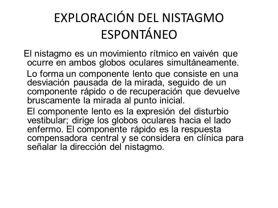 EXPLORACIÓN DEL NISTAGMO ESPONTÁNEO