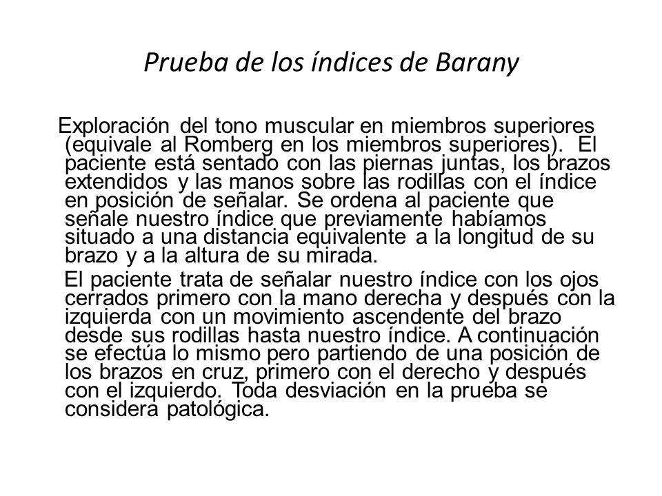 Prueba de los índices de Barany