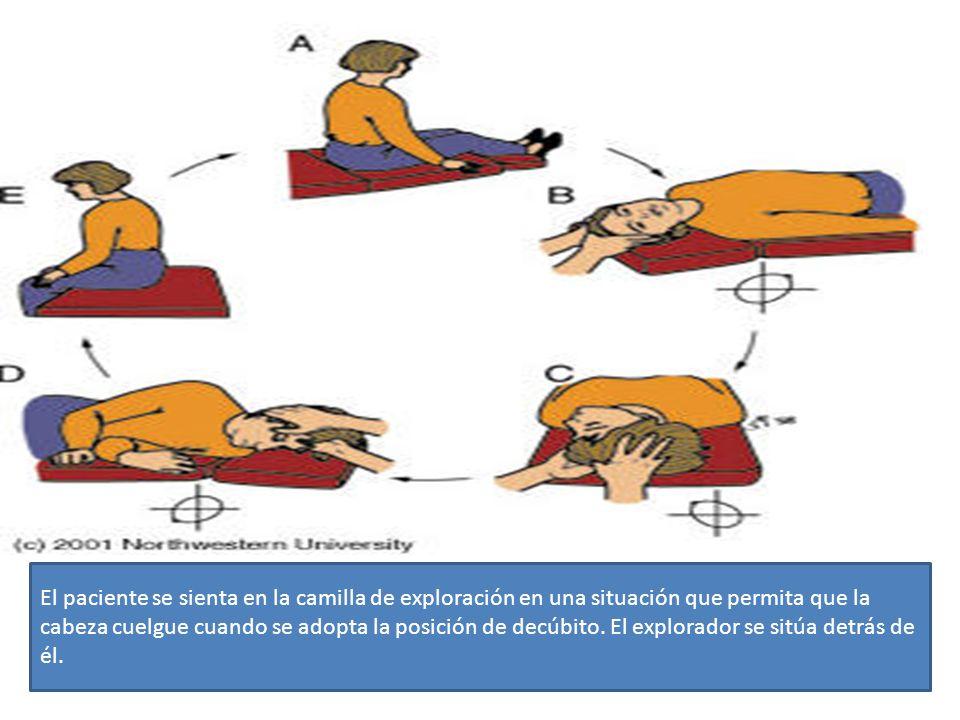 El paciente se sienta en la camilla de exploración en una situación que permita que la cabeza cuelgue cuando se adopta la posición de decúbito. El explorador se sitúa detrás de él.