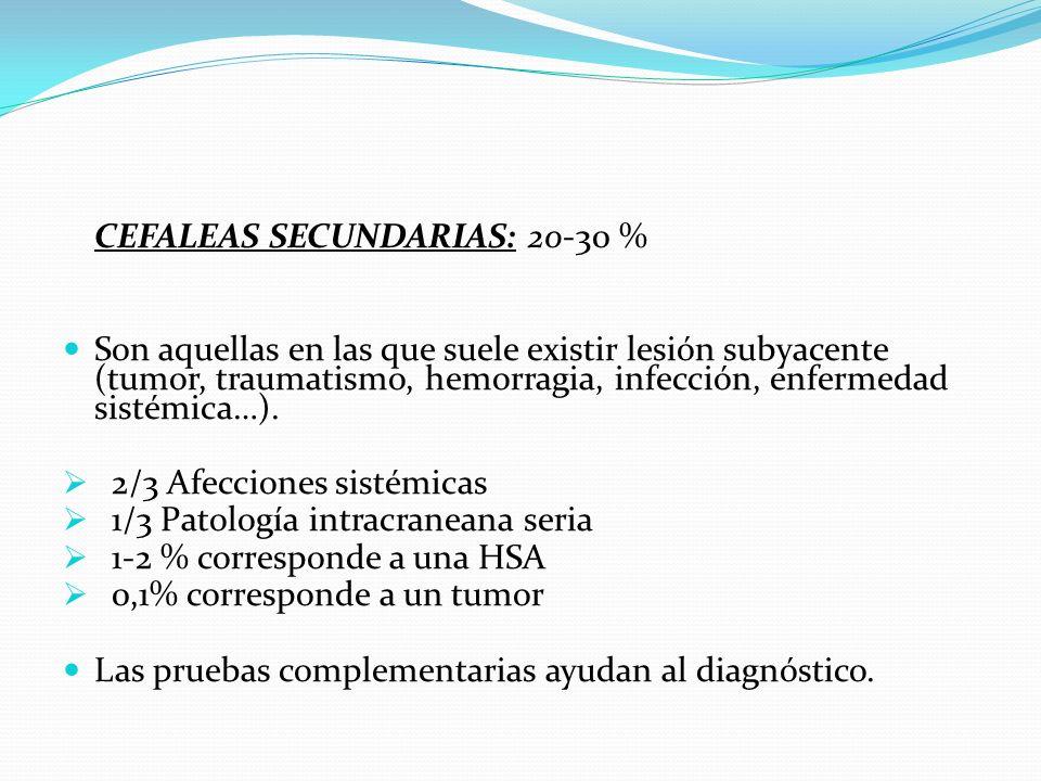 CEFALEAS SECUNDARIAS: 20-30 %