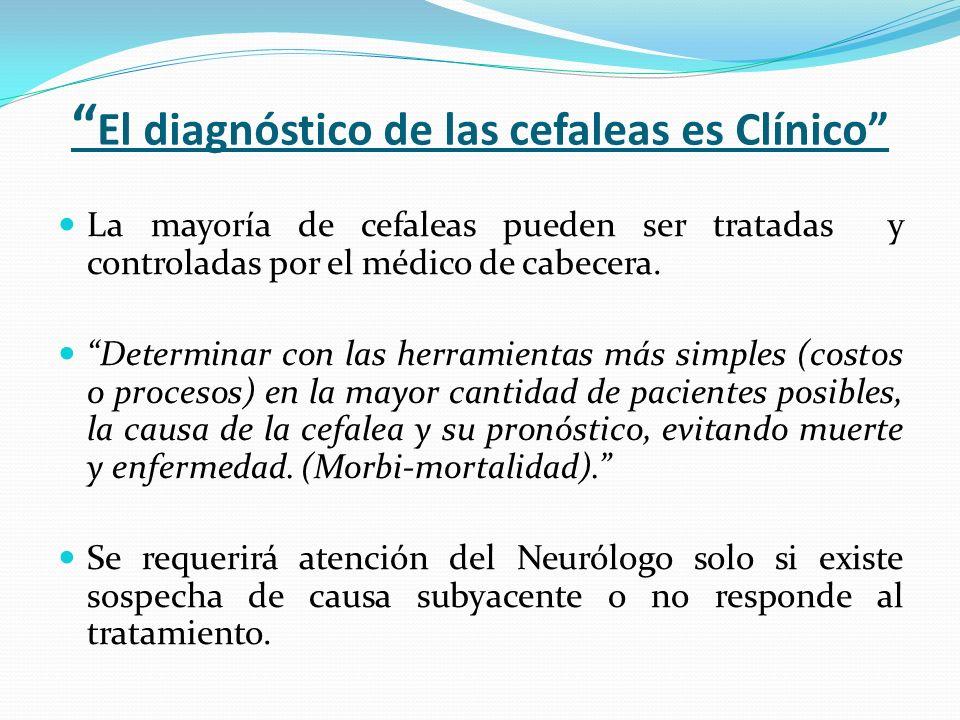 El diagnóstico de las cefaleas es Clínico