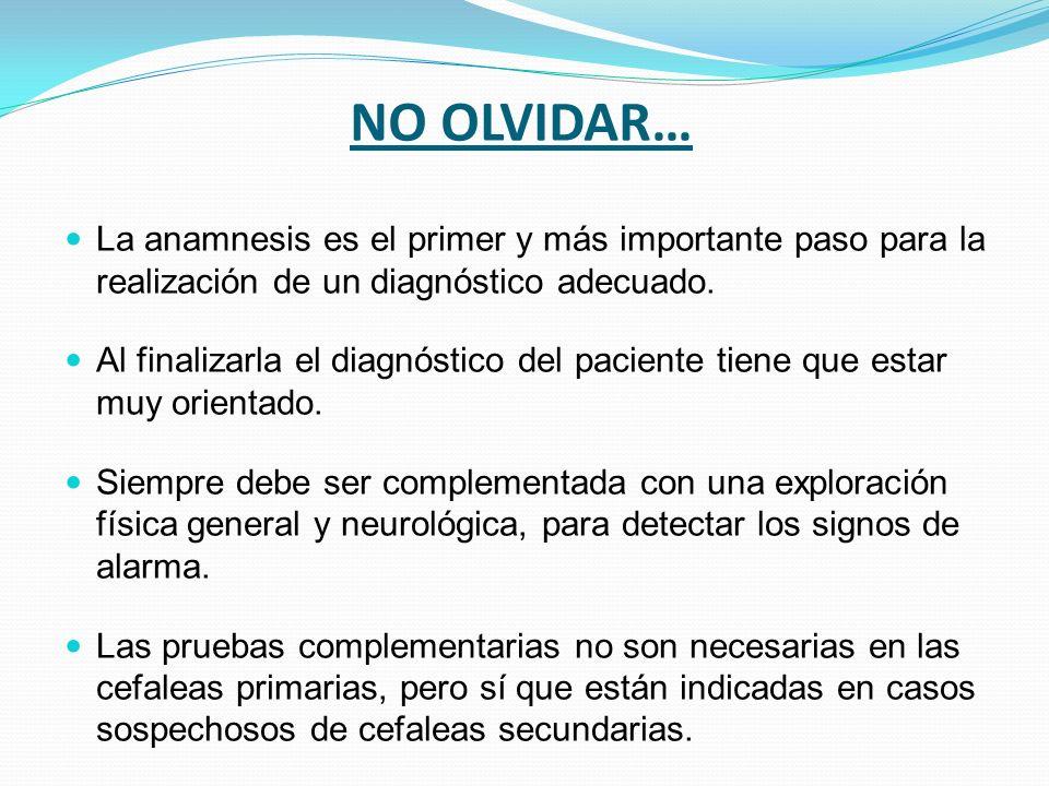 NO OLVIDAR…La anamnesis es el primer y más importante paso para la realización de un diagnóstico adecuado.