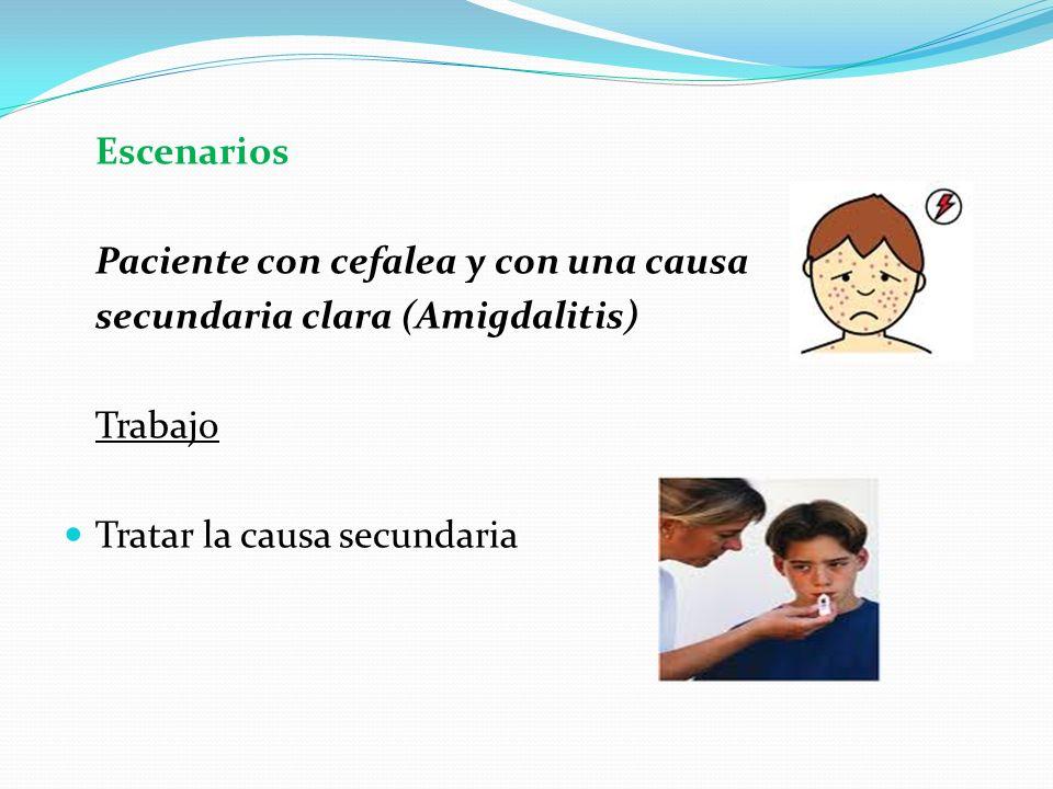 EscenariosPaciente con cefalea y con una causa.secundaria clara (Amigdalitis) Trabajo.