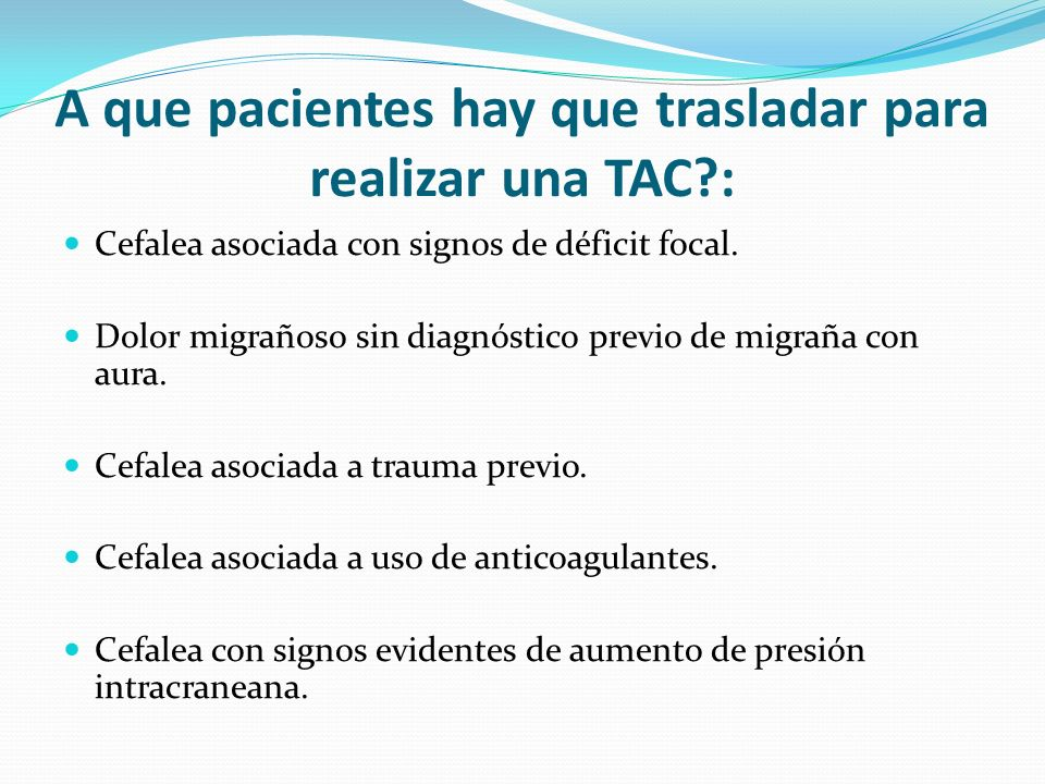 A que pacientes hay que trasladar para realizar una TAC :