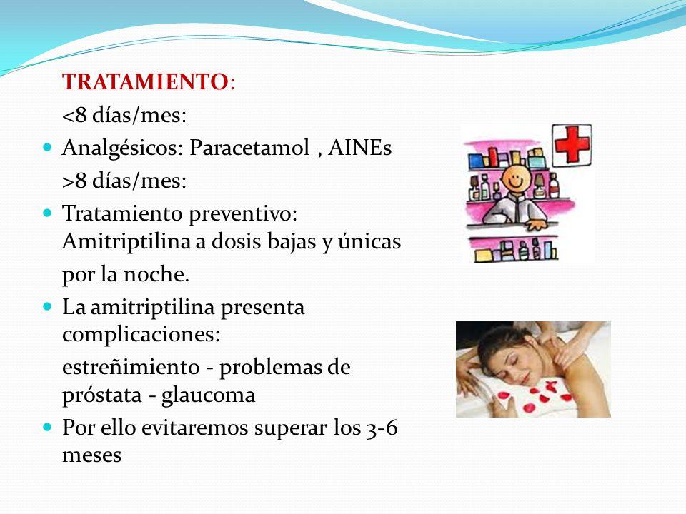 TRATAMIENTO: <8 días/mes: Analgésicos: Paracetamol , AINEs. >8 días/mes: Tratamiento preventivo: Amitriptilina a dosis bajas y únicas.