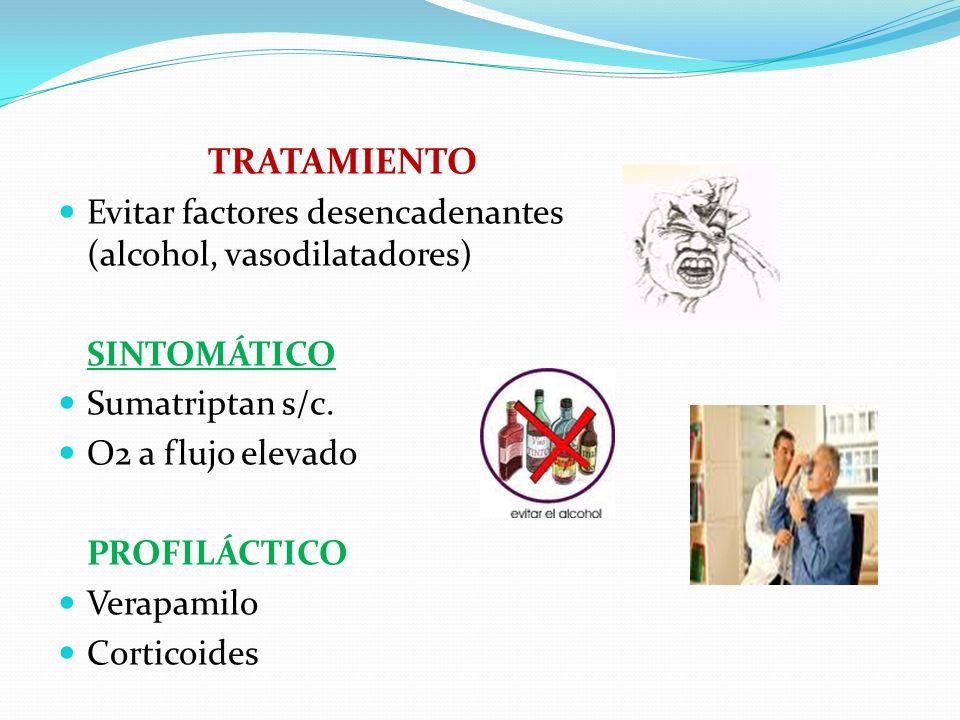 TRATAMIENTO Evitar factores desencadenantes (alcohol, vasodilatadores)