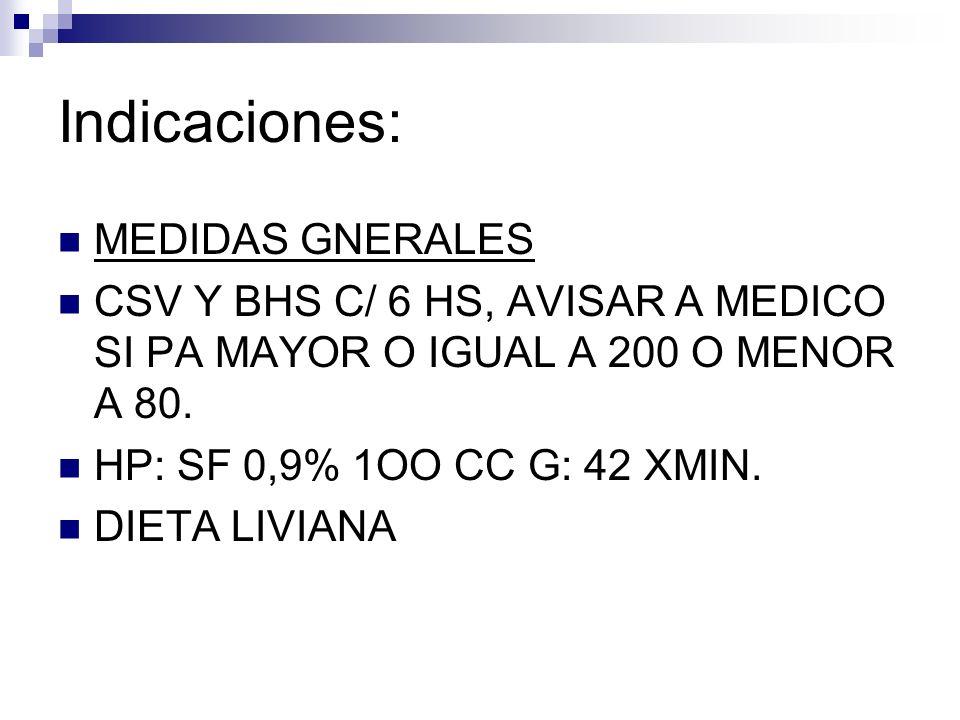 Indicaciones: MEDIDAS GNERALES