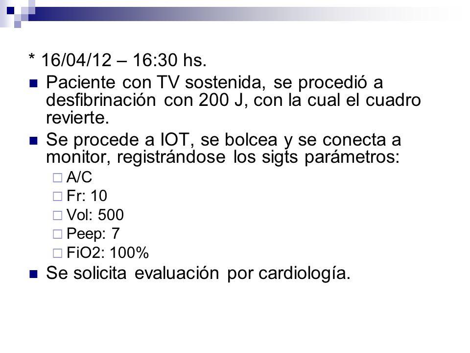 Se solicita evaluación por cardiología.