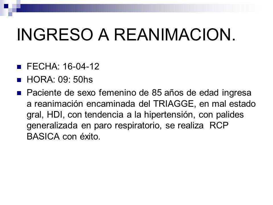 INGRESO A REANIMACION. FECHA: 16-04-12 HORA: 09: 50hs