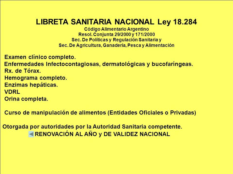 LIBRETA SANITARIA NACIONAL Ley 18.284